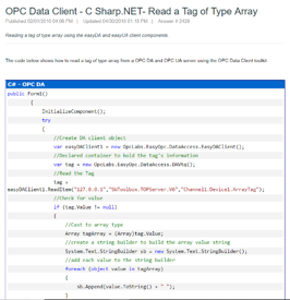 OPC Data Client Read Array Tags Code Sample