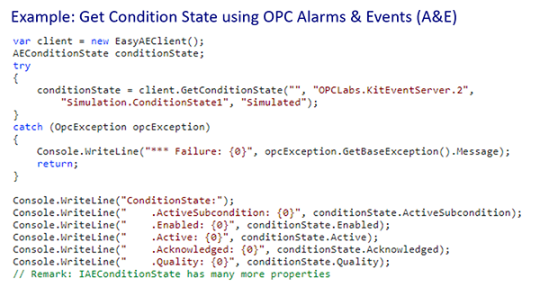 OPC Alarms and Events GetConditionState Example