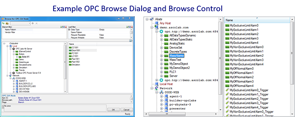 Example OPC Browsing Dialogs and Controls