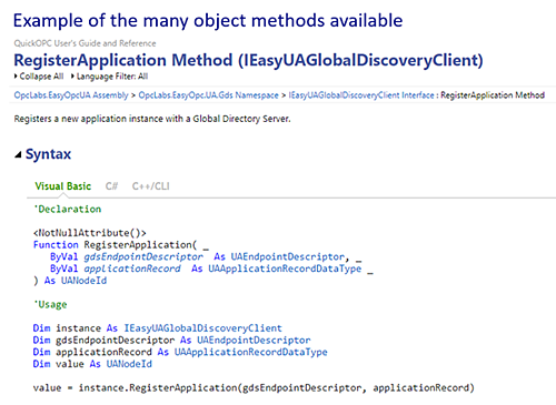 OPC UA Specialized Client Object Code Example