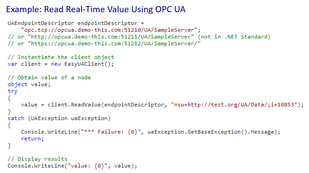 OPC UA Read Single Tag Value Example